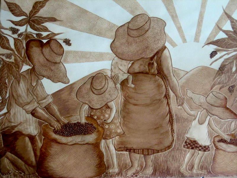Lukisan menggunakan kopi instan karya Sunshine Plata.