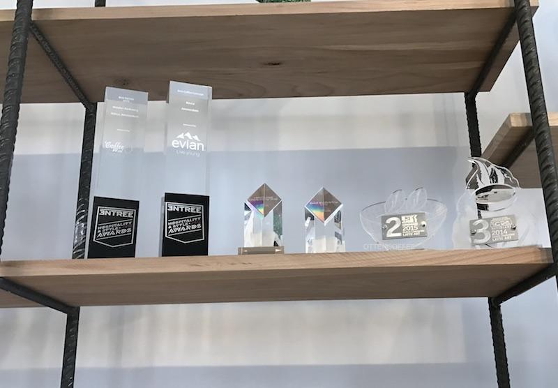 Piala-piala kejuaraan kopi yang diraih sang barista.